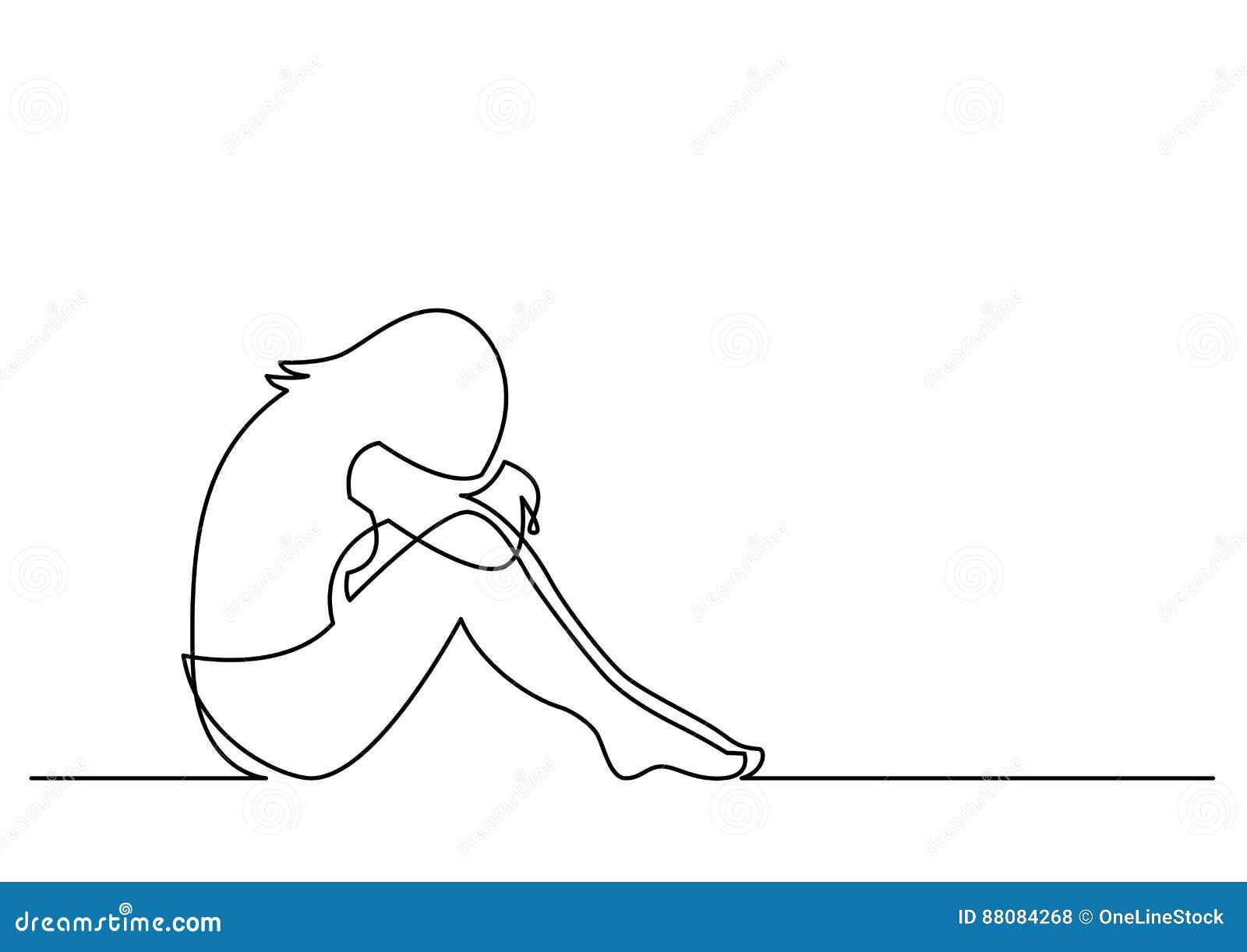 Dessin Au Trait Continu De La Seance Deprimee De Femme Illustration
