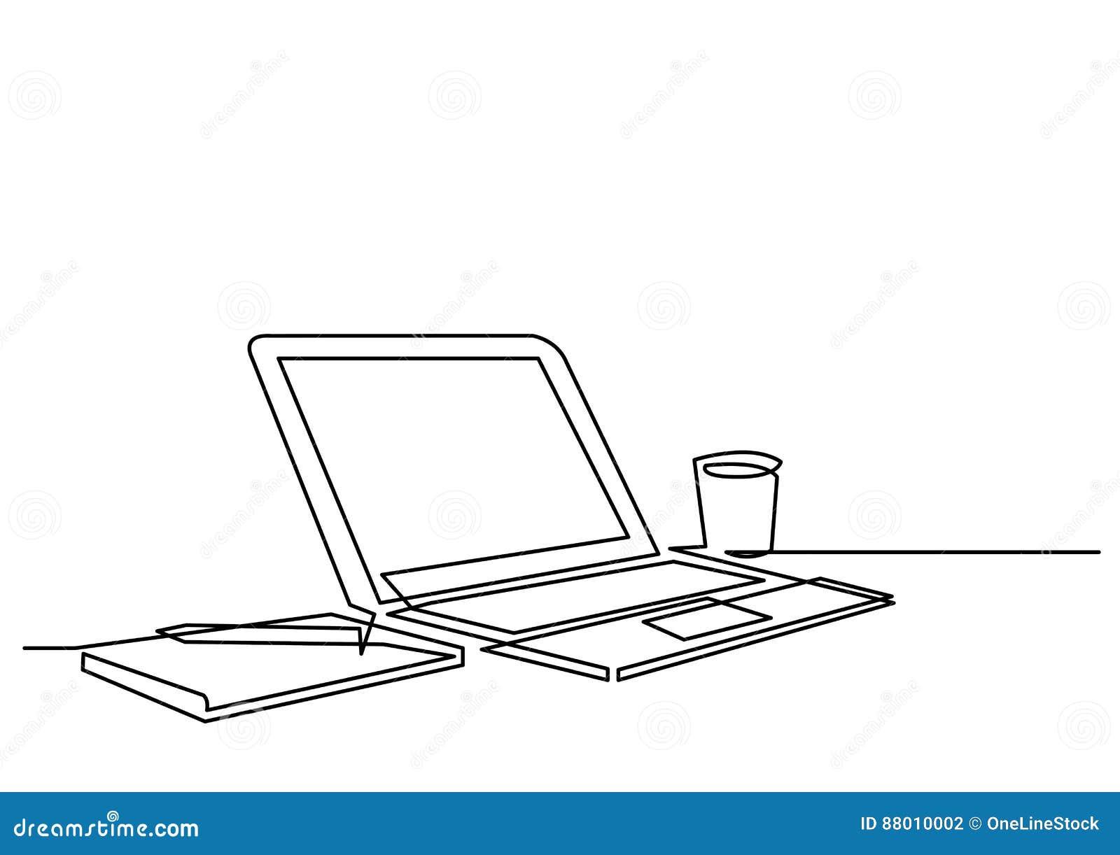 Dessin Au Trait Continu De Stylo D Ordinateur Portable De Bureau