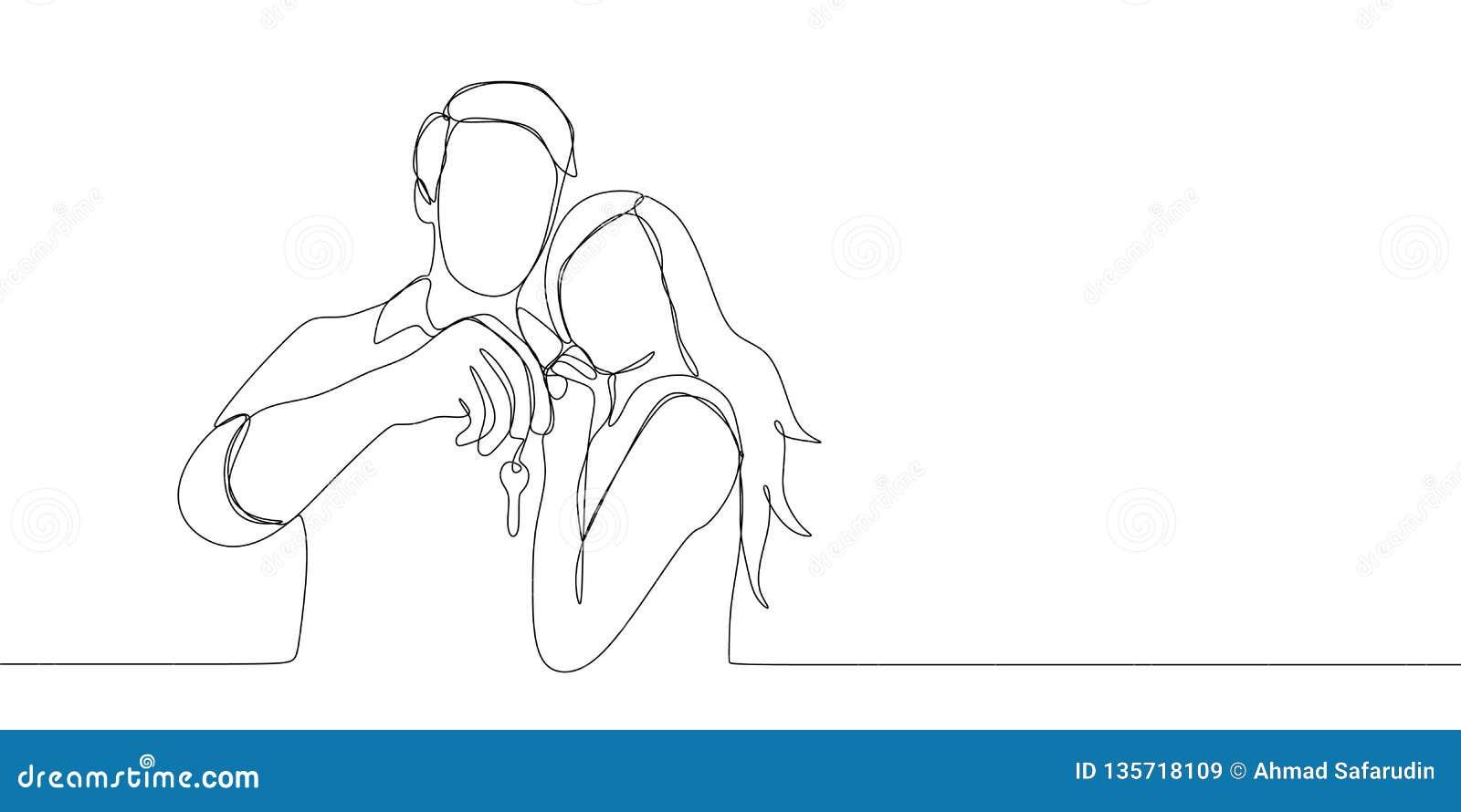 Dessin au trait continu des couples étant heureux tenant la clé après lachat de la maison ou de la voiture un illustration de vecteur de dessin au trait