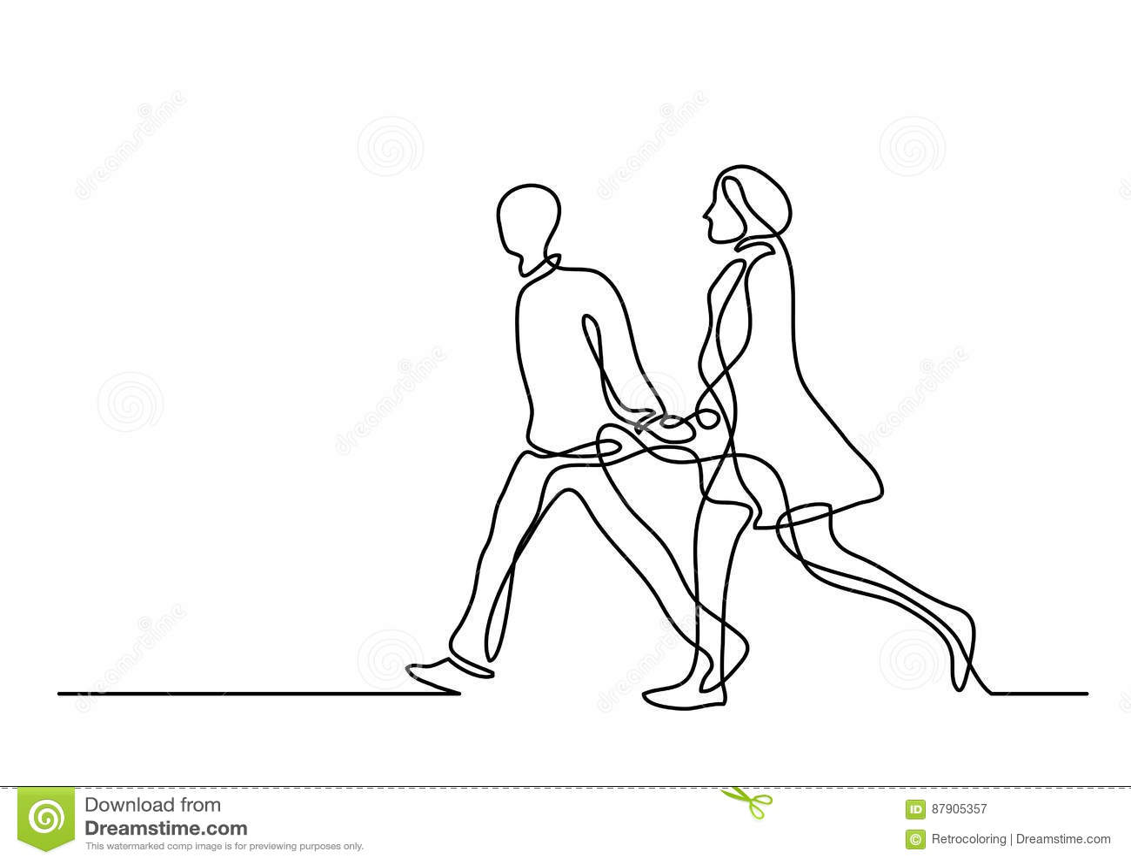 Dessin Au Trait Continu Des Couples De Marche Illustration
