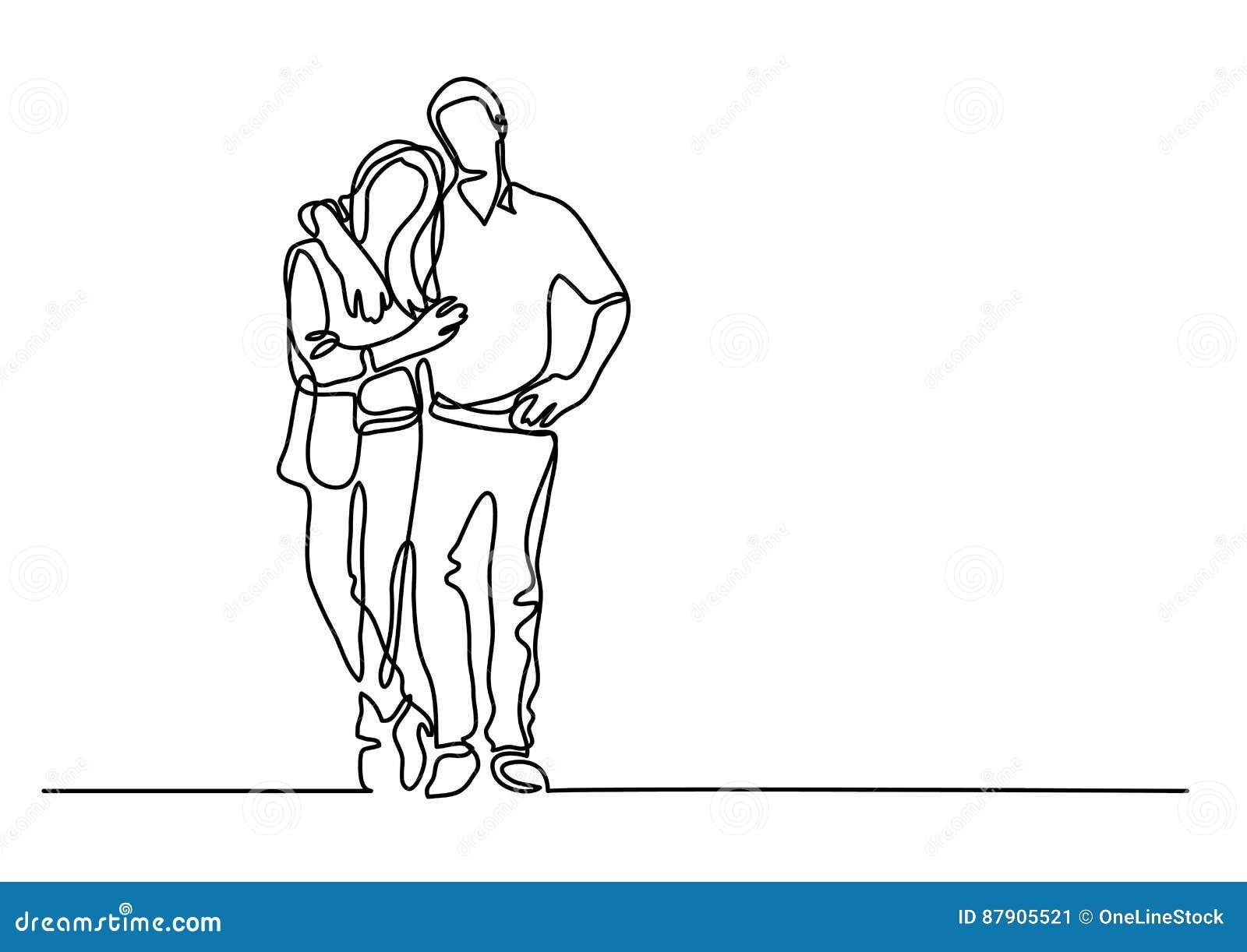 Dessin Au Trait Continu Des Couples Debout Illustration De
