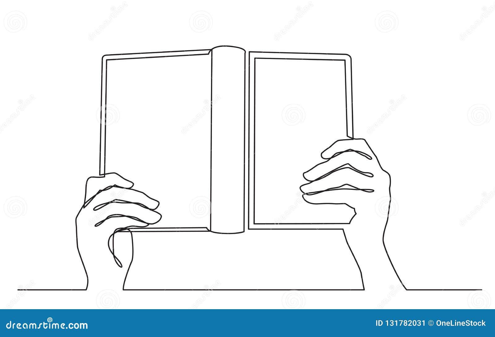 Dessin Au Trait Continu Des Mains Tenant Le Livre Ouvert