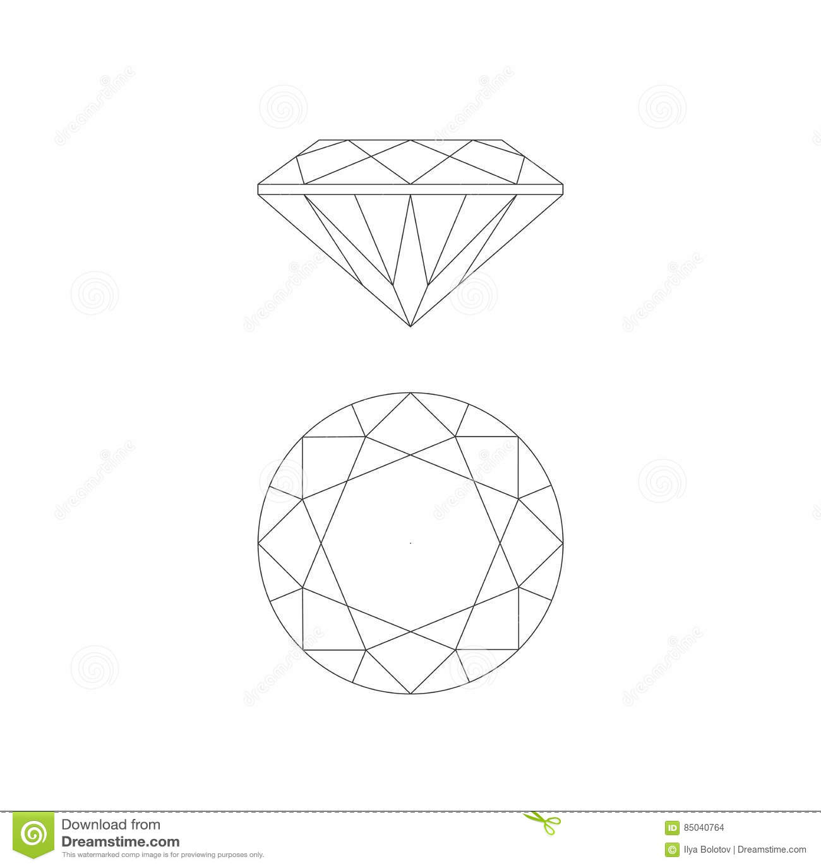 Dessin au trait diamant illustration de vecteur image - Diamant dessin ...