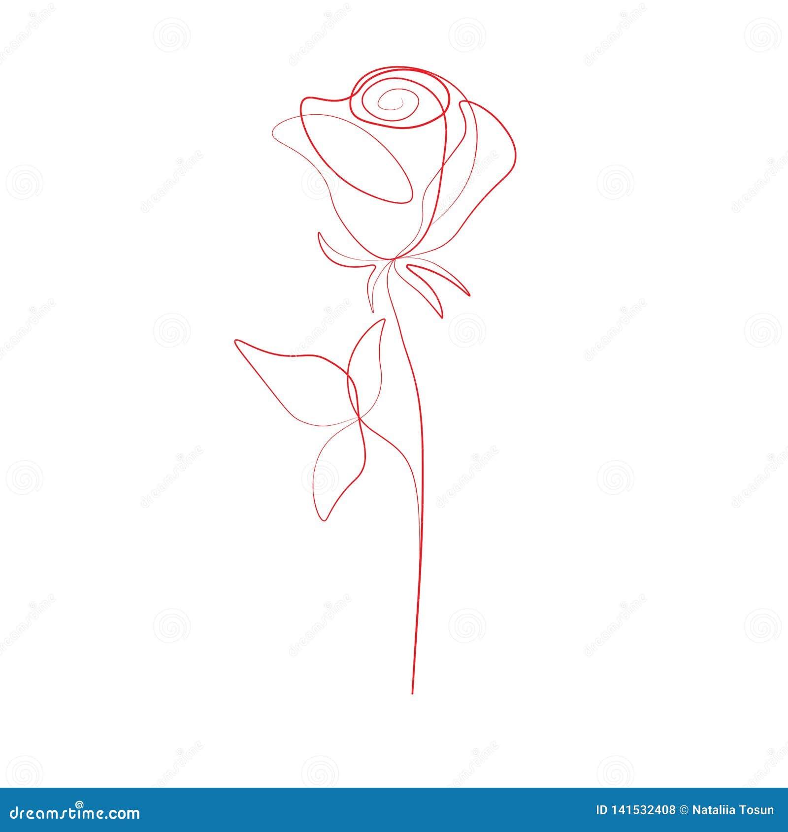 Dessin au trait impression un a monté fleur, illustration de vecteur