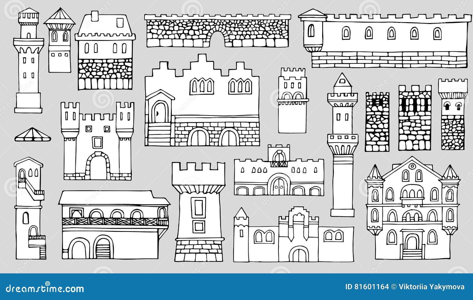 Dessin Au Trait Noir Et Blanc éléments Architecturaux De
