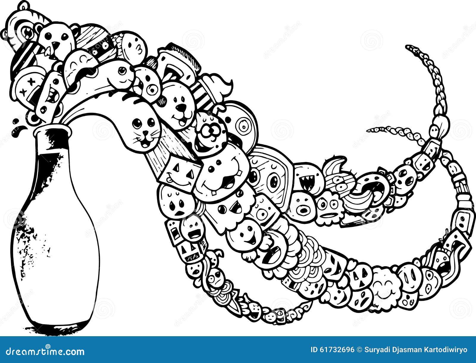 Dessin Au Trait Noir dessin au trait noir et blanc illustration stock - illustration du