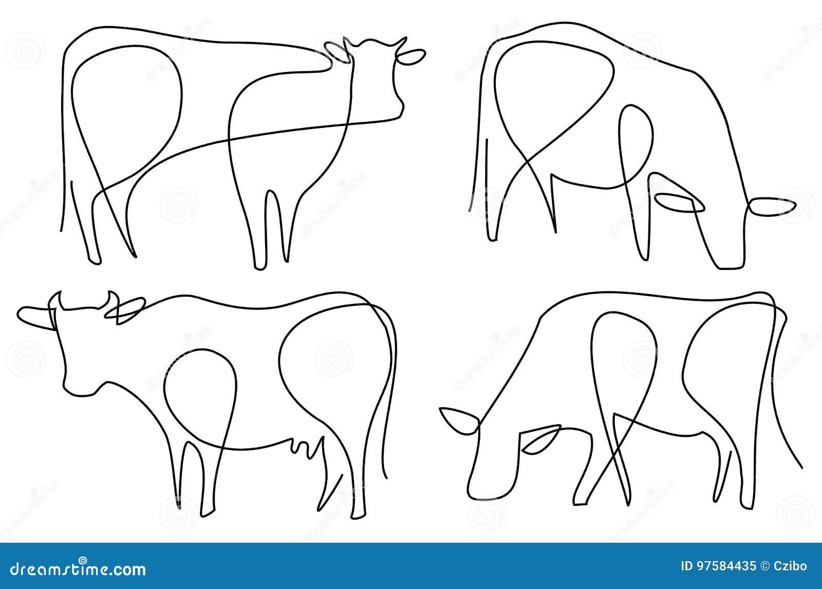Dessin au trait vache une illustration de vecteur for Dessin minimaliste