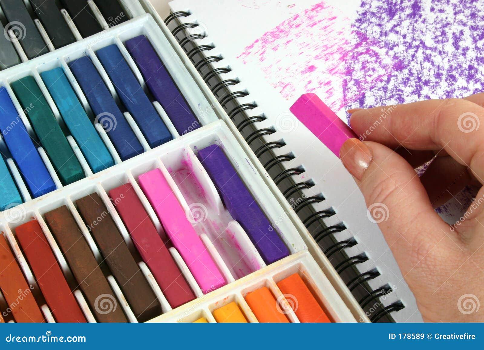Dessin avec des pastels