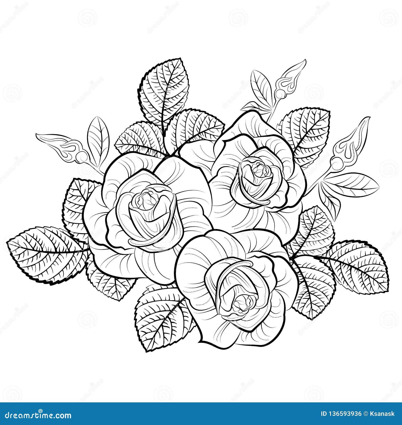 Dessin Avec Le Bouquet Des Roses Illustration De Vecteur