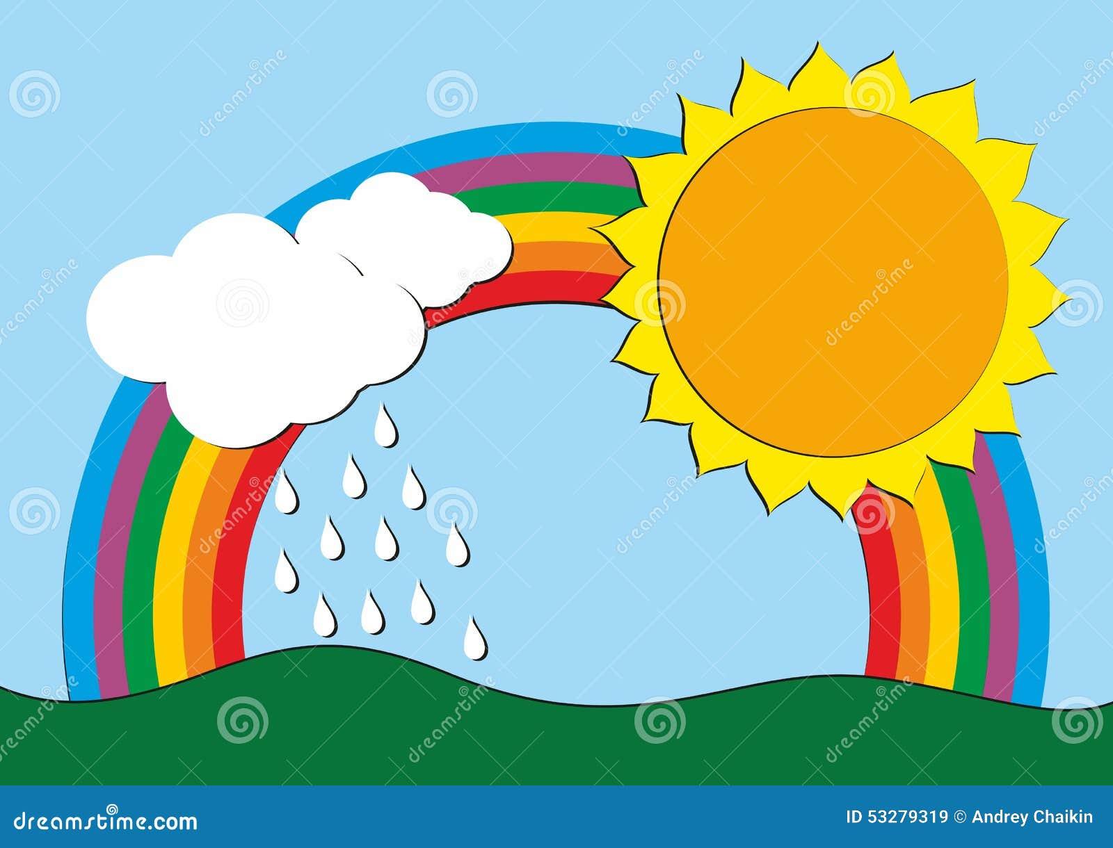 Dessin avec un arc en ciel illustration de vecteur image - Dessin arc en ciel ...