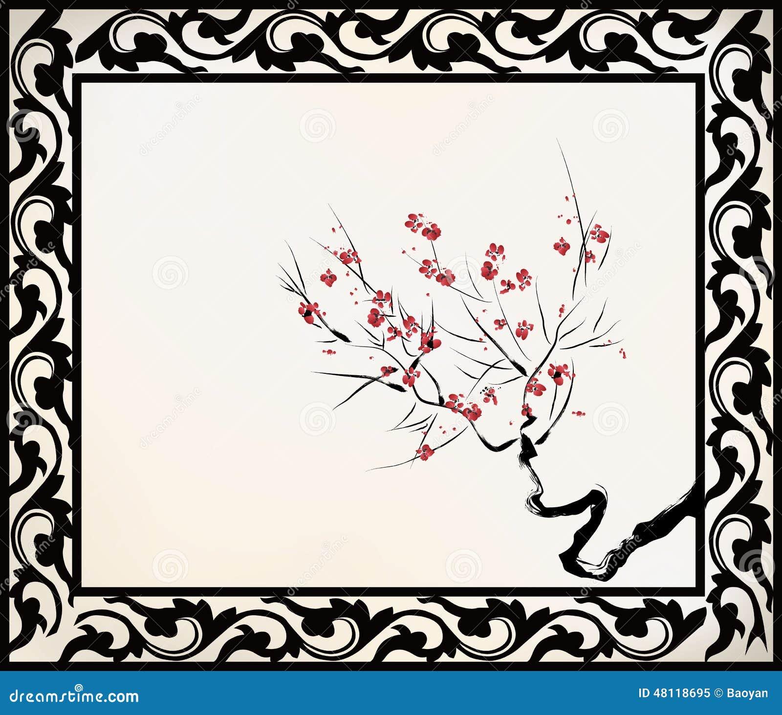 Dessin Chinois De Fleur Illustration De Vecteur Illustration Du