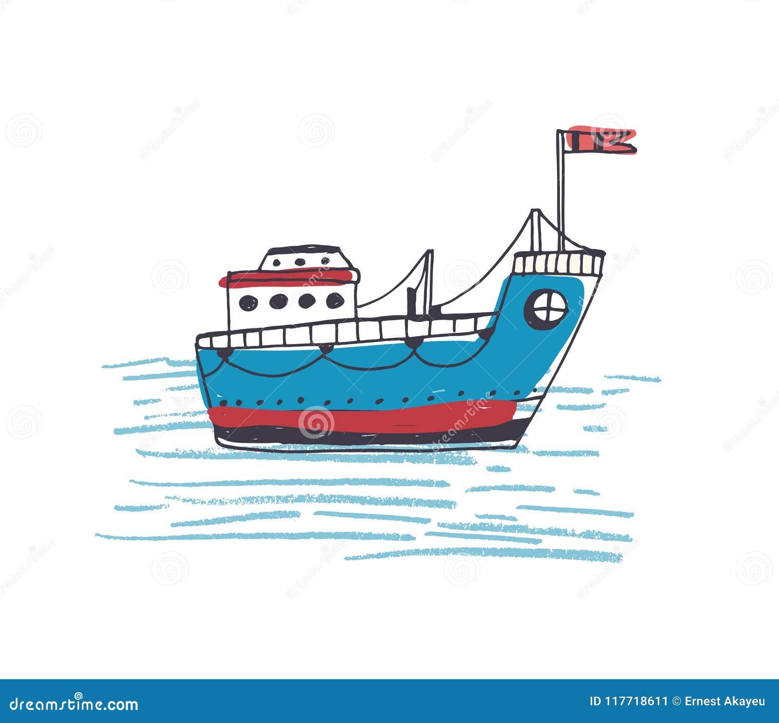 Dessin coloré de ferry-boat de passager ou de navire marin avec la navigation de drapeau en mer Bateau de cargaison ou de cargo d