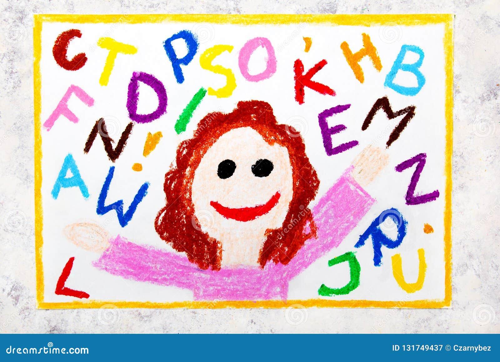 Dessin Coloré Fille De Sourire Et Lettres Colorées D