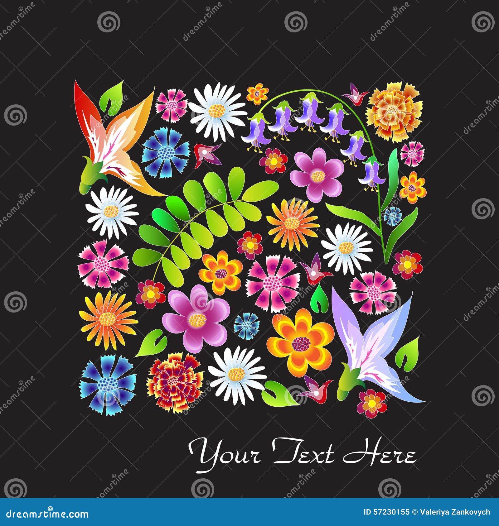Dessin color de fleurs sauvages illustration de vecteur - Dessin colore ...
