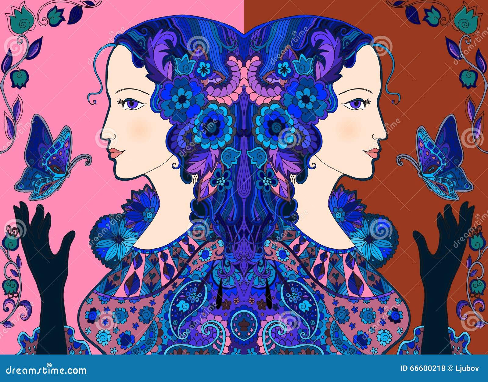 Dessin color de griffonnage de belles femmes avec des - Dessin colore ...
