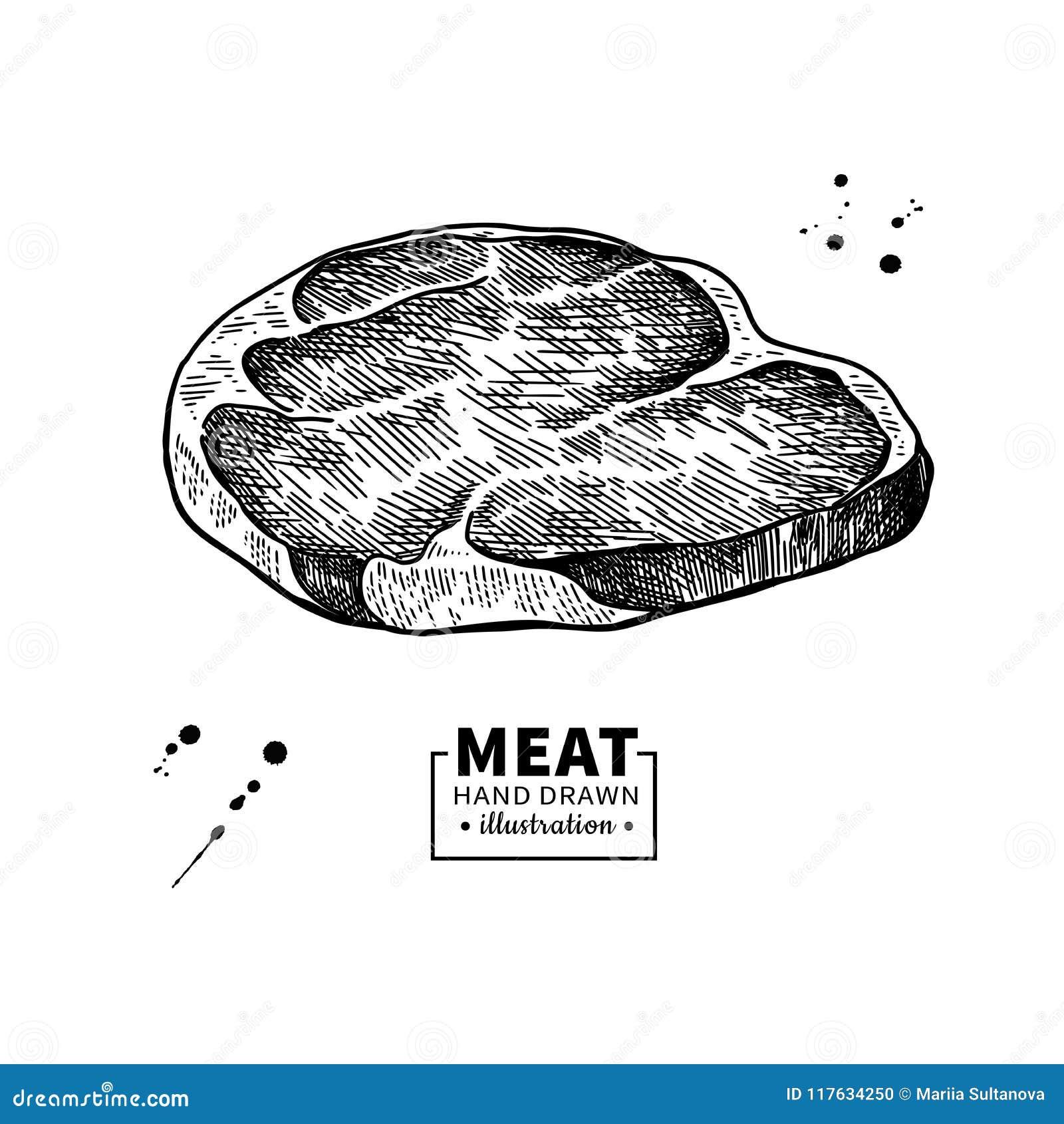 Dessin Cru De Vecteur De Bifteck De Boeuf Croquis Tire Par