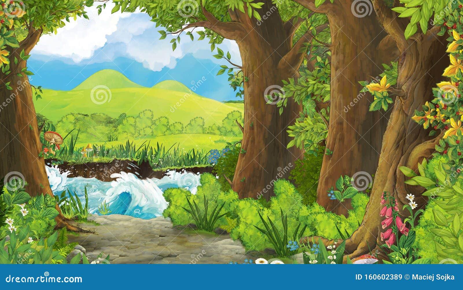 Dessin D Ete Avec Prairie Dans La Foret Illustration Stock Illustration Du Dessin Avec 160602389