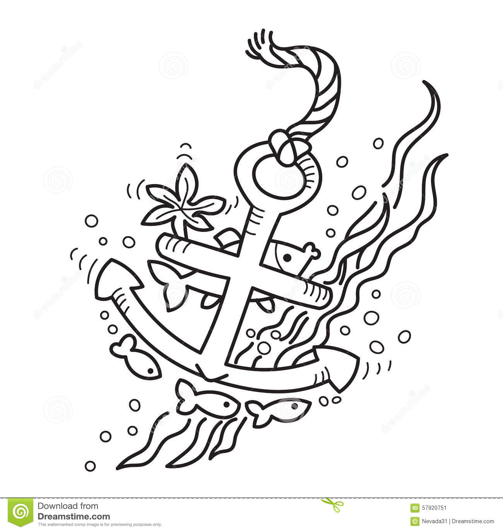Dessin d 39 ancre submerg e illustration stock illustration du naufrage 57920751 - Ancre de bateau dessin ...