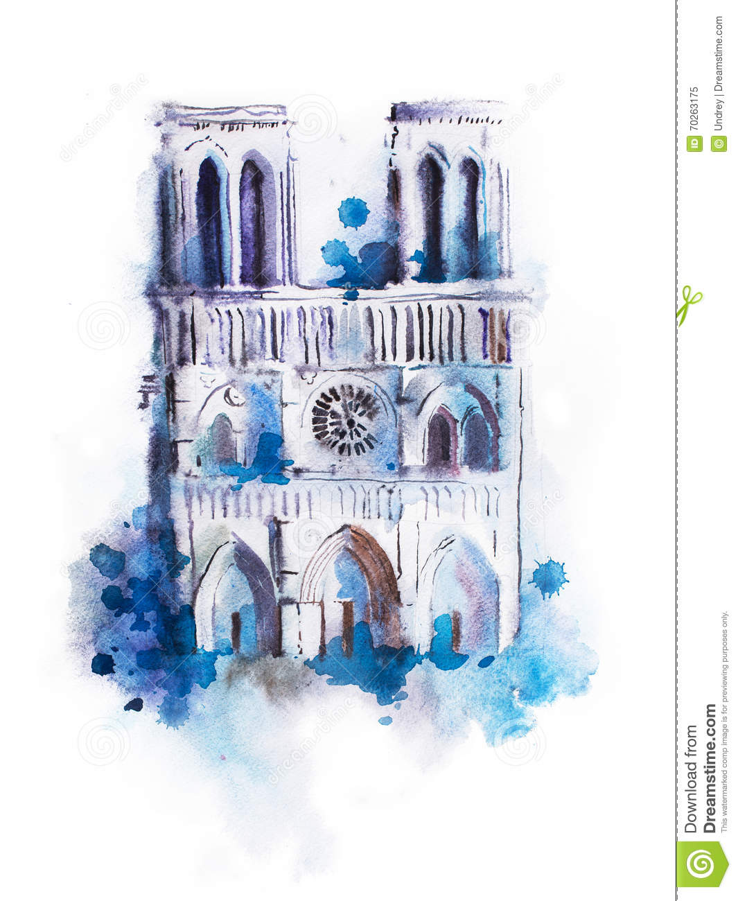 dessin d 39 aquarelle de notre dame peinture de vue de paris d 39 aquarelle photo stock image 70263175. Black Bedroom Furniture Sets. Home Design Ideas