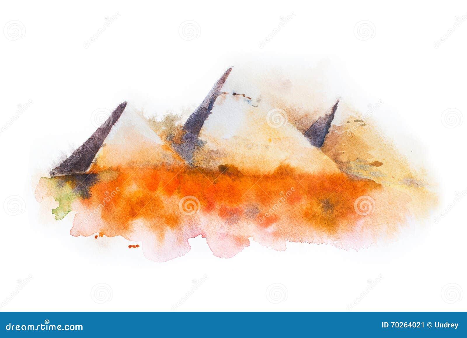 Dessin d 39 aquarelle des pyramides de gizeh pyramides de la - Dessin de pyramide ...