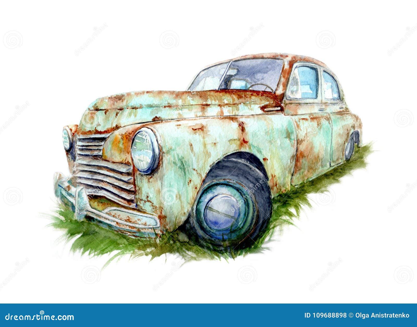 Dessin d 39 aquarelle d 39 une vieille voiture rouill e illustration stock illustration du antiquit - Dessin vieille voiture ...