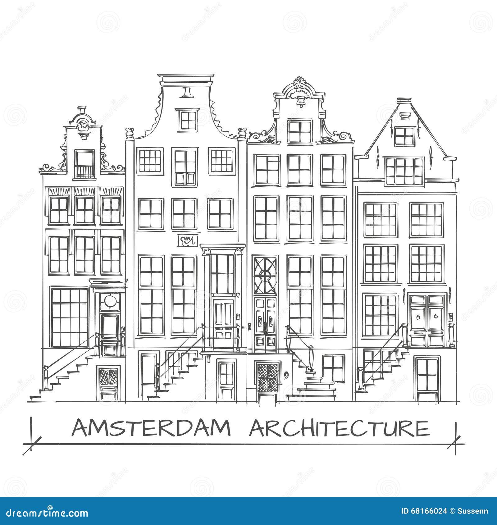 Dessin d 39 architecture d 39 amsterdam illustration de vecteur for Dessin architecture