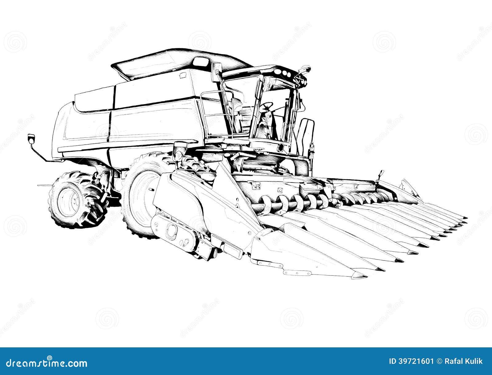 Dessin d 39 art d 39 illustration de r colte illustration stock illustration du fermier ferme 39721601 - Dessin moissonneuse ...