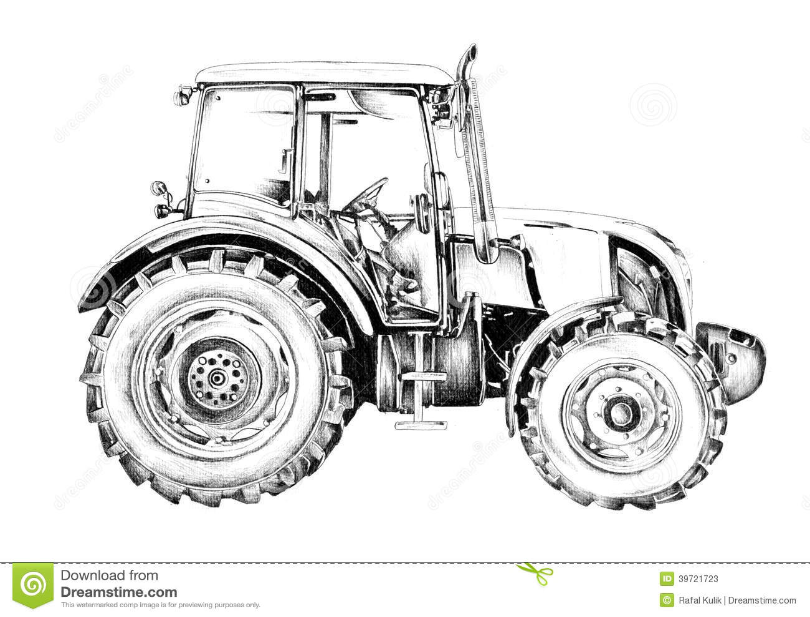 Dessin d 39 art d 39 illustration de tracteur agricole - Dessin d un tracteur ...