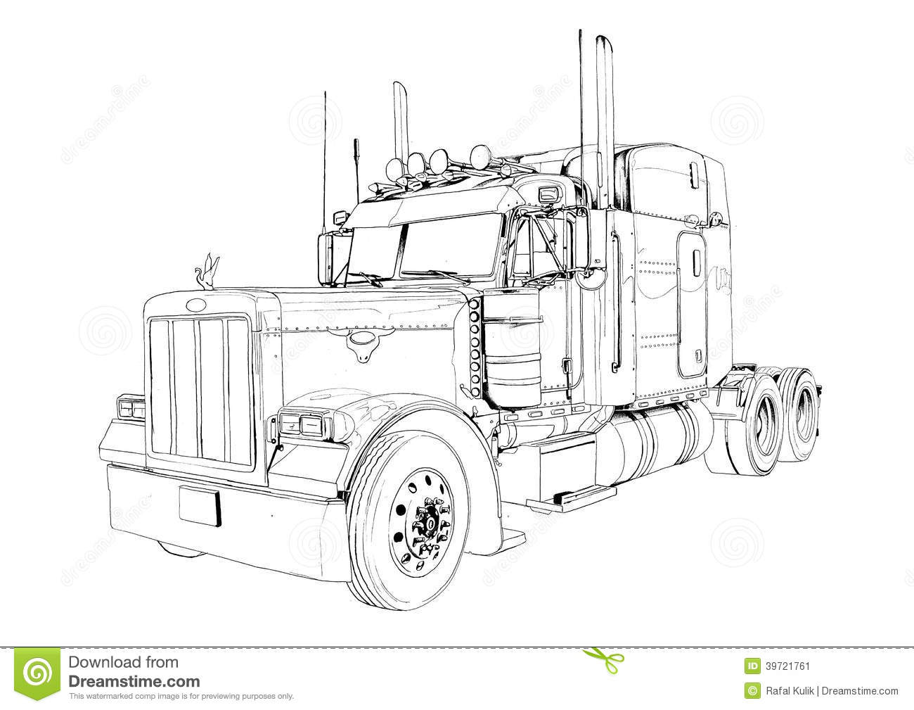 Dessin d 39 art d 39 isolement par couleur d 39 illustration de - Dessin de camion semi remorque ...