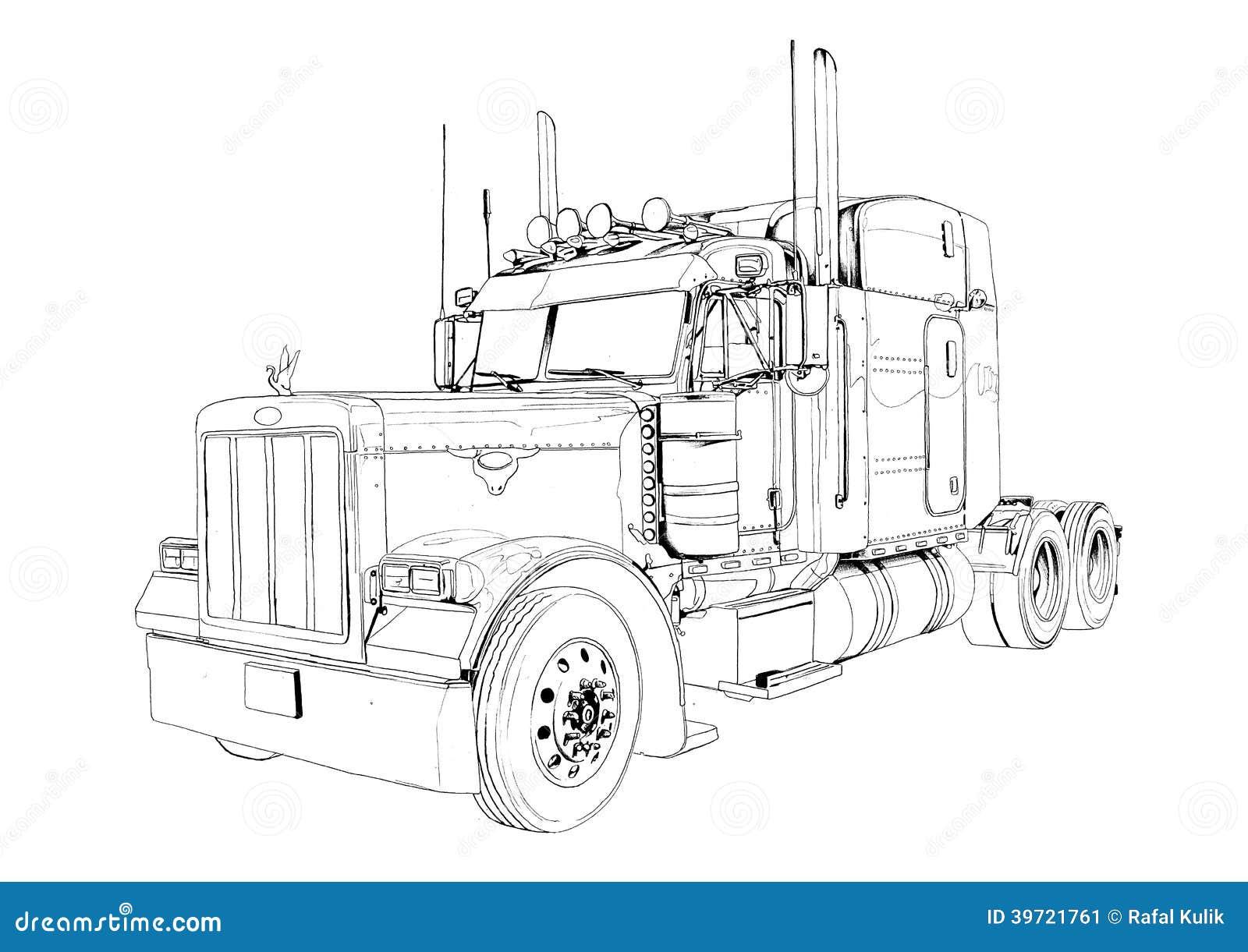 Dessin d 39 art d 39 isolement par couleur d 39 illustration de - Camion americain dessin ...