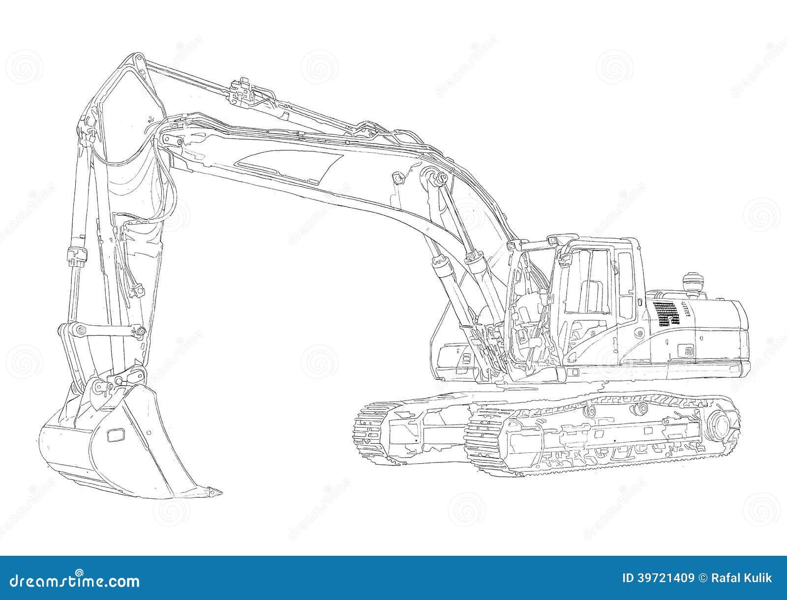 Dessin D Art D Isolement Par Illustration D Excavatrice