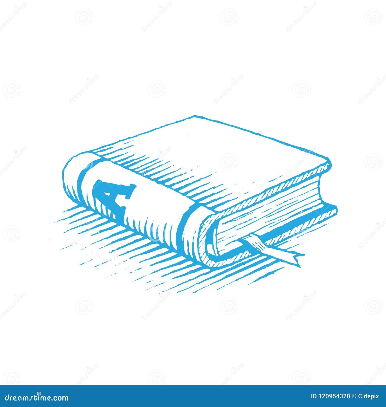 Dessin D Un Livre dessin d'encre d'une illustration de vecteur de livre bleu