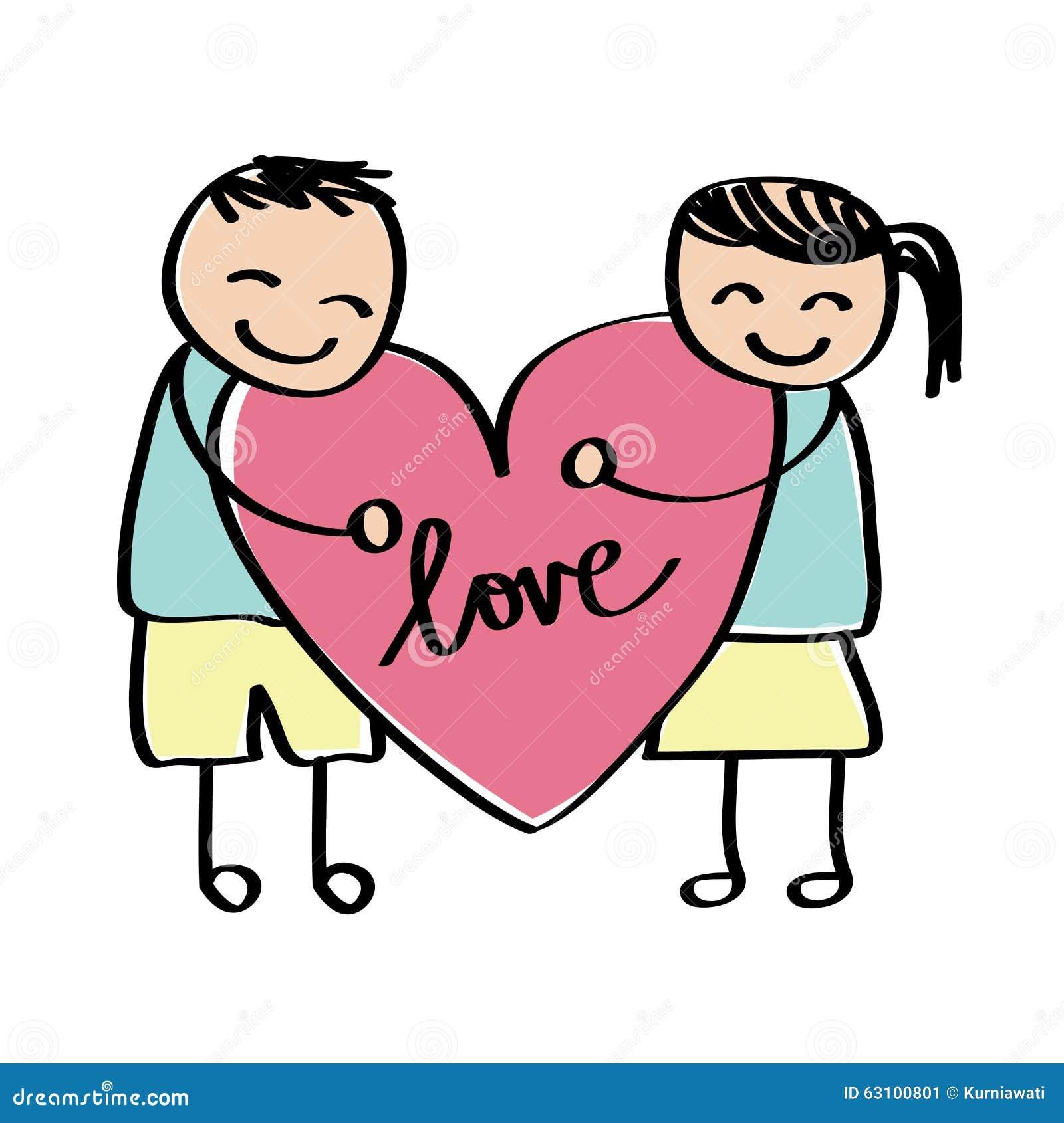Dessin d 39 enfant d 39 amour illustration de vecteur image - Dessin d amour ...