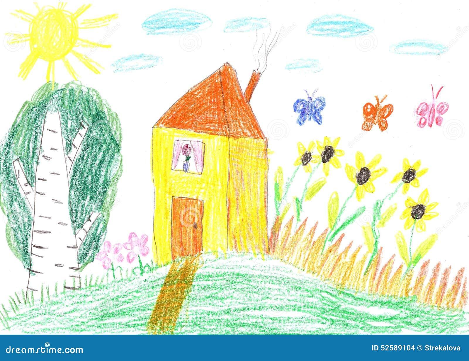Dessin d 39 enfant d 39 une maison photo stock image 52589104 - Dessin maison enfant ...