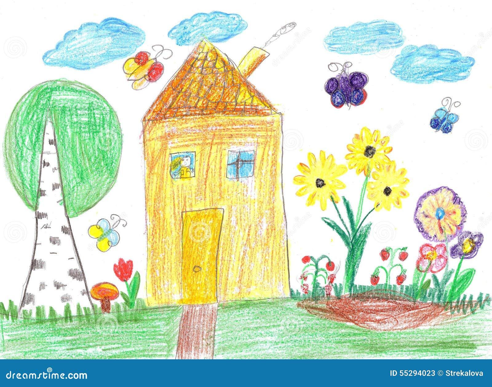Dessin d 39 enfant d 39 une maison image stock image 55294023 - Maison dessin enfant ...