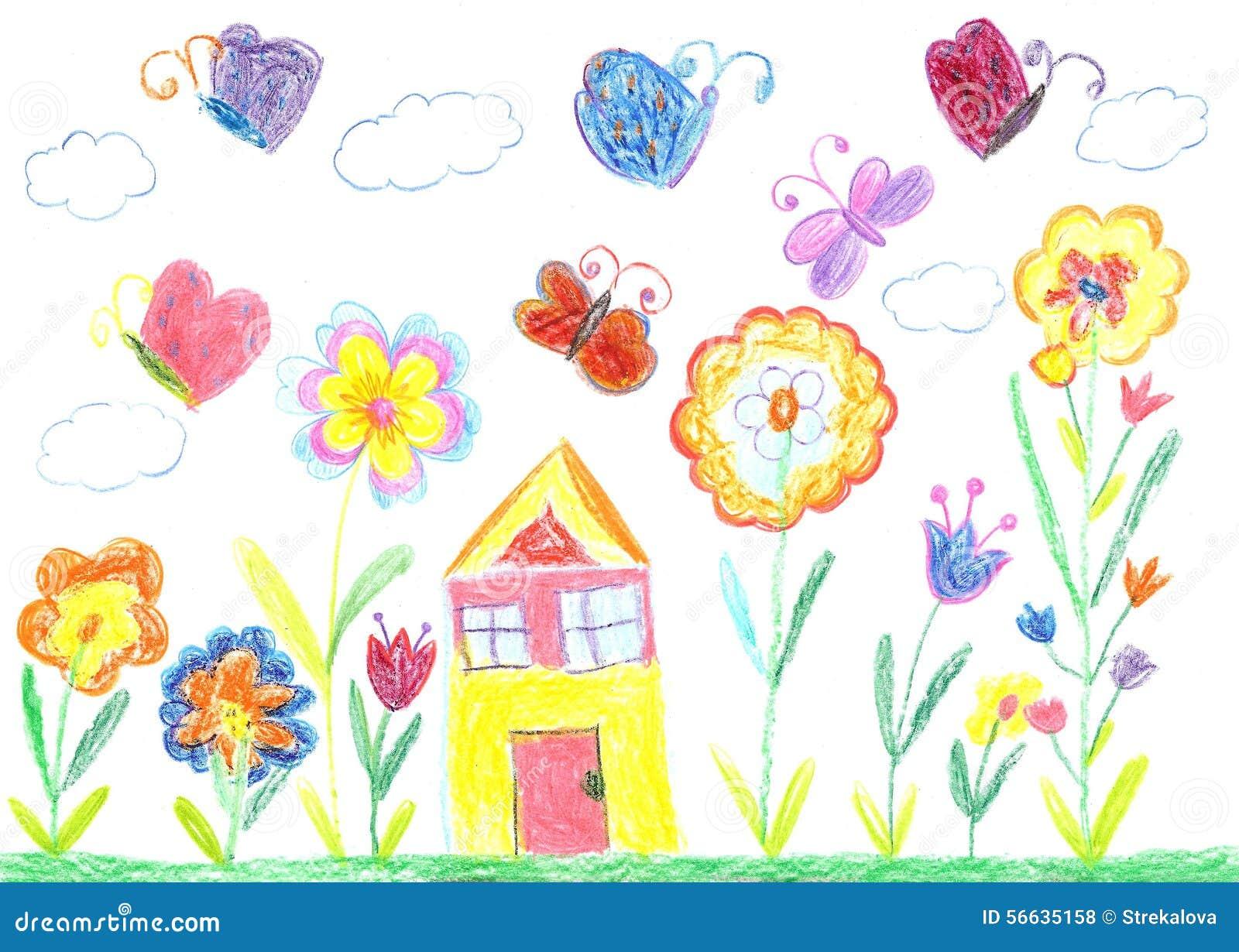 Dessin d 39 enfant d 39 une maison photo stock image 56635158 - Maison dessin enfant ...