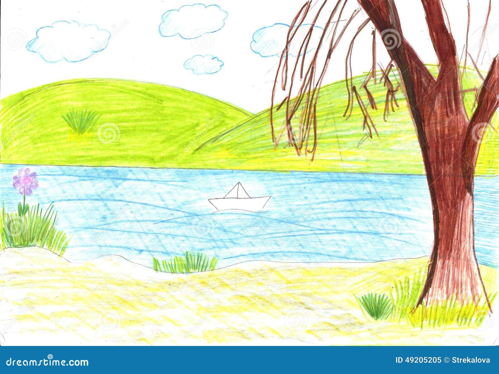 Dessin d 39 enfant du bateau de papier illustration stock illustration du grand image 49205205 - Dessin bateau enfant ...