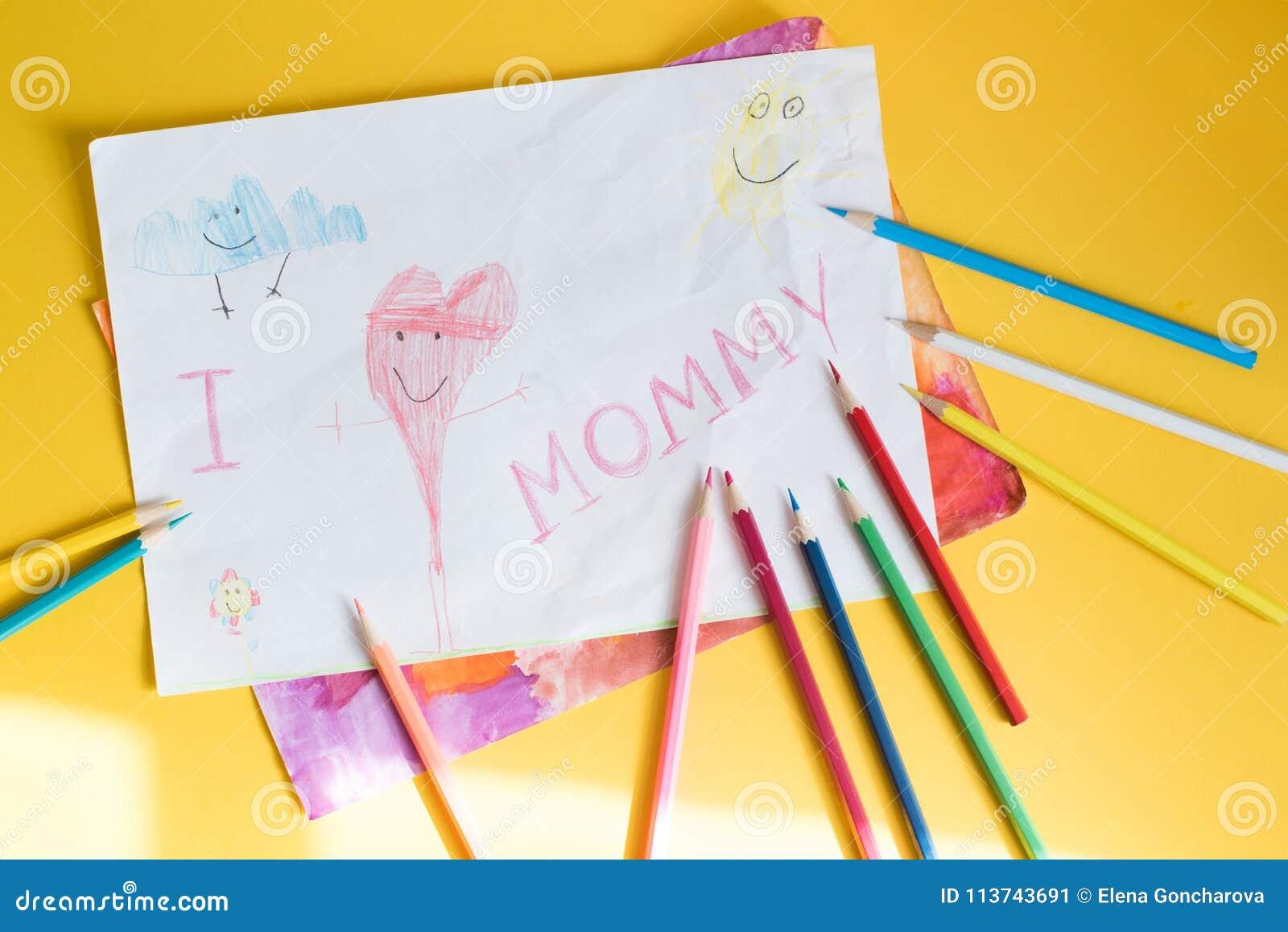 Dessin D Enfant Pour La Maman Image Stock Image Du