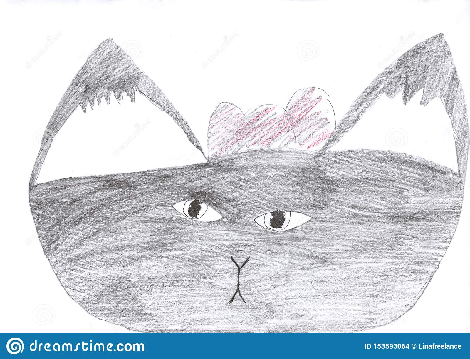 Dessin d enfant d un dessin au crayon gris de chat mignon d isolement sur le blanc