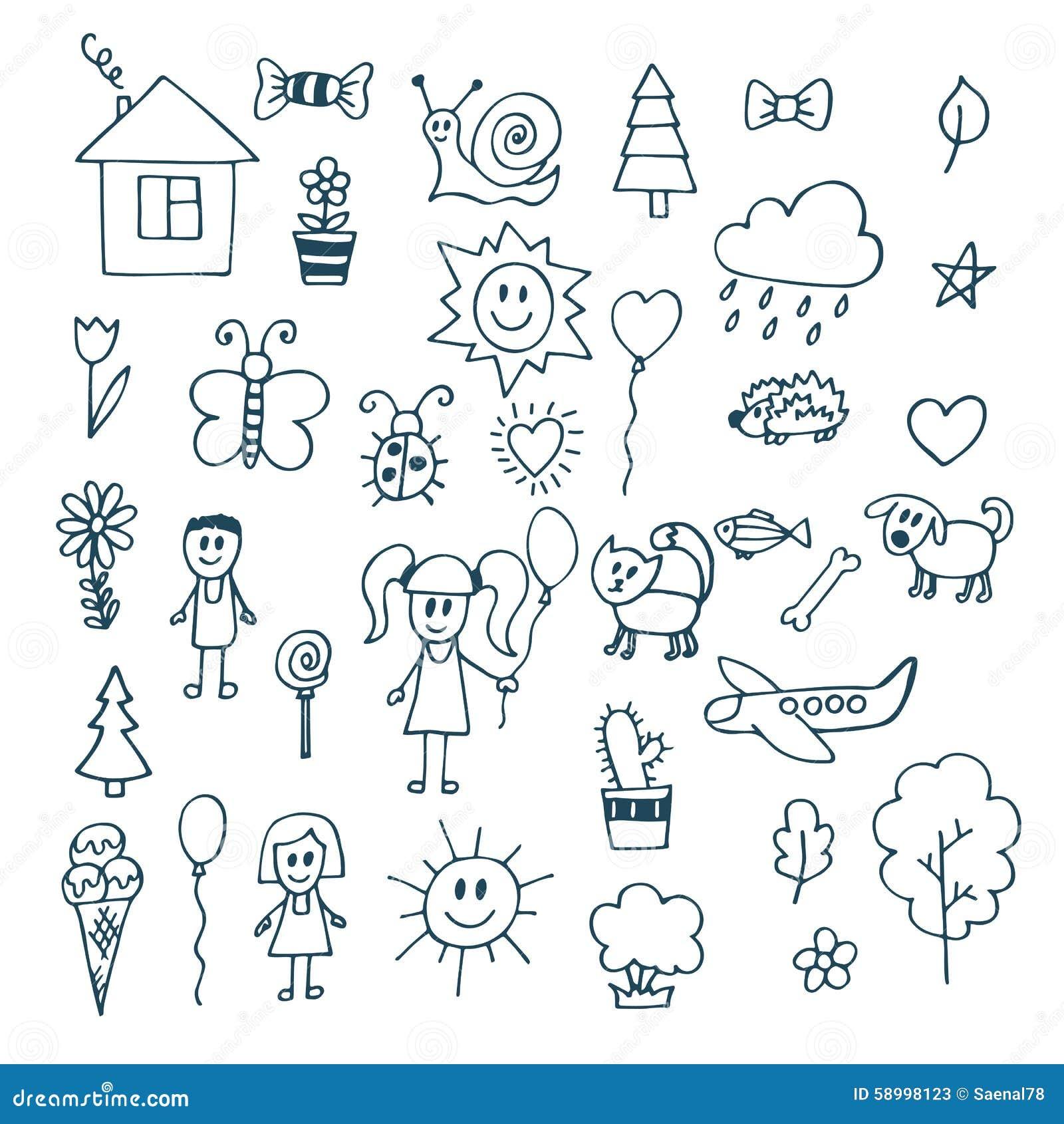 Dessin d 39 enfants ensemble de griffonnage d 39 objets de la for Dessine ma maison gratuitement