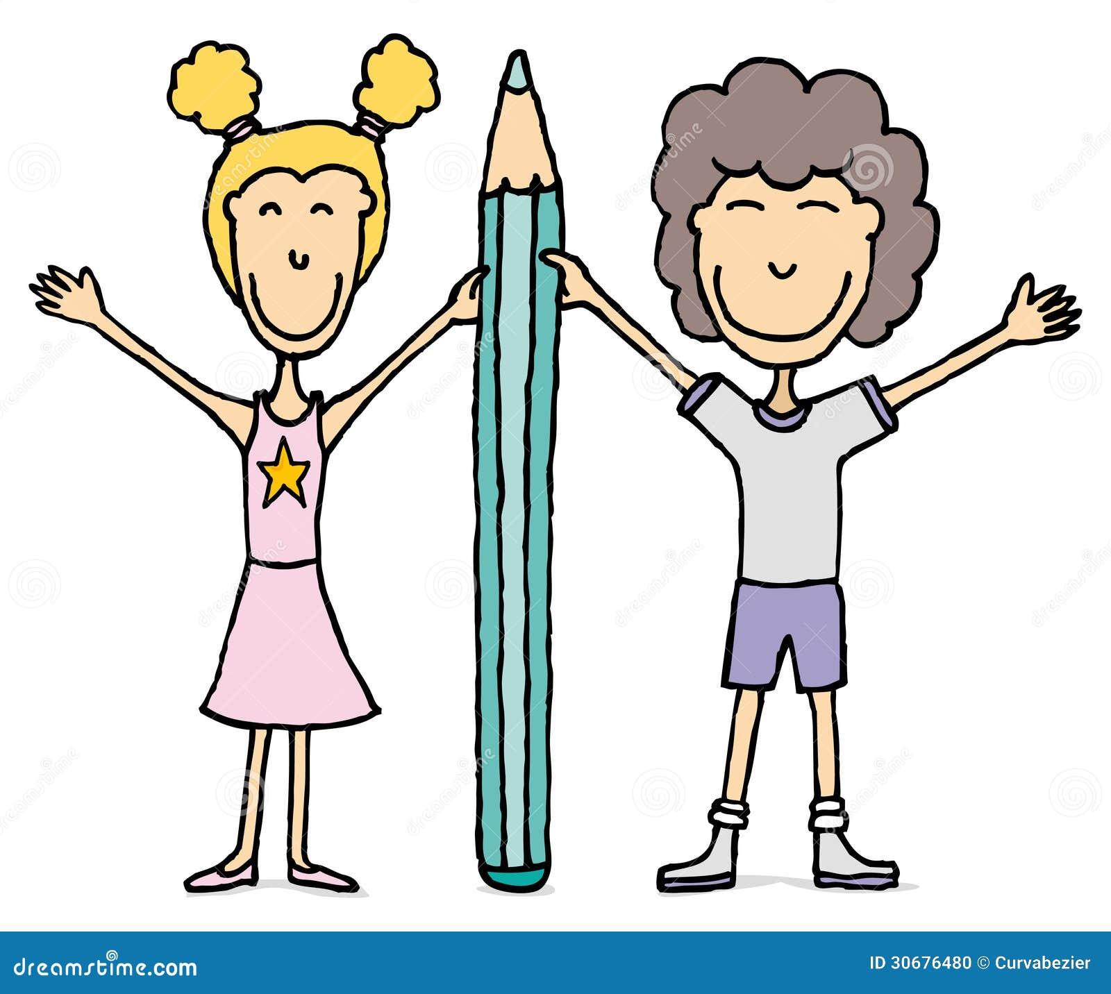 Dessin D enfants garçon Et Fille Tenant Le Grand Crayon ... b50b013ec243