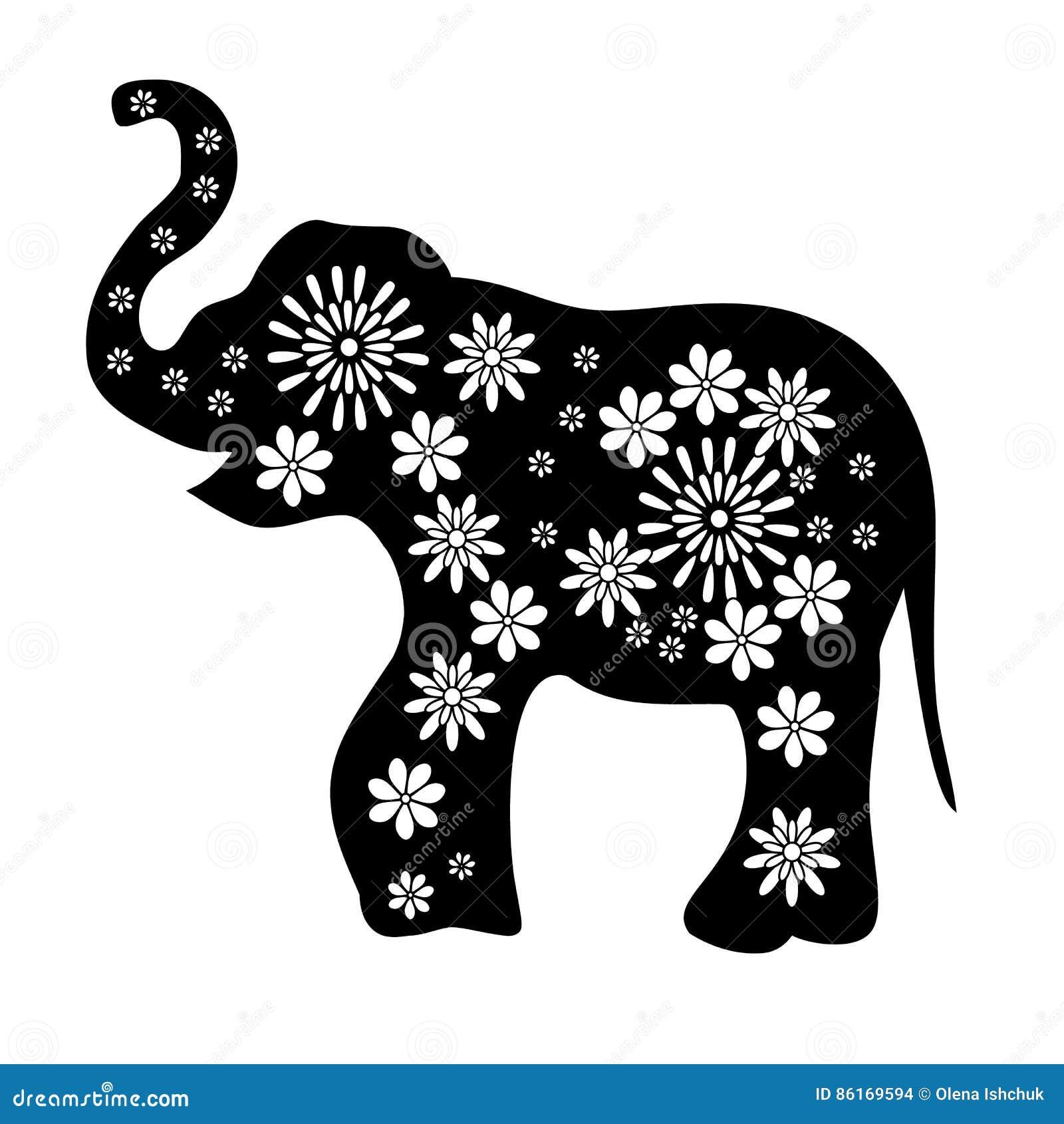 Dessin d 39 ensemble d 39 un noir d 39 l phant avec les fleurs blanches photo stock image du graphisme - Dessin d un elephant ...