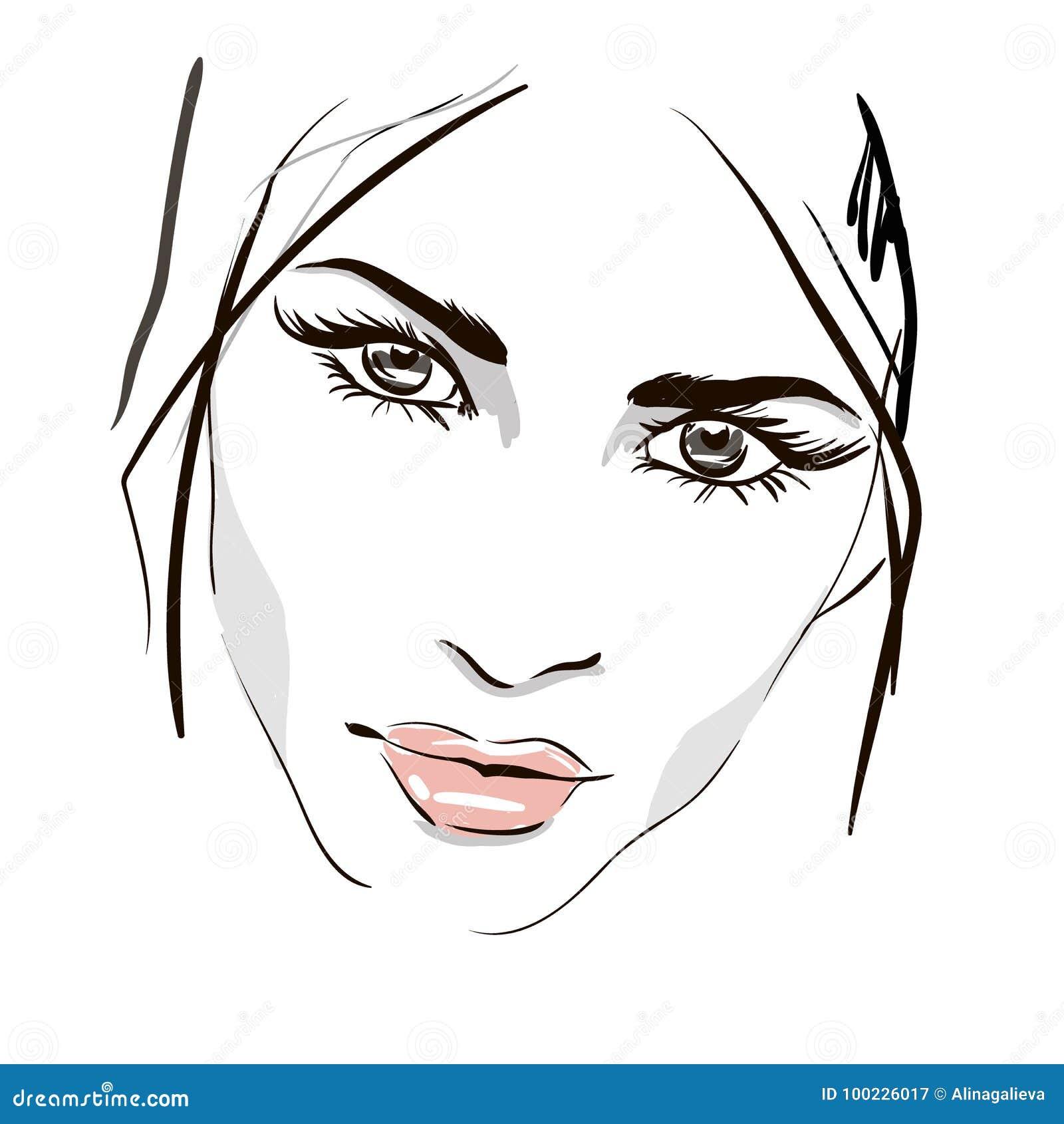 Dessin d 39 ensemble de visage de femme illustration de - Dessin de visage a imprimer ...