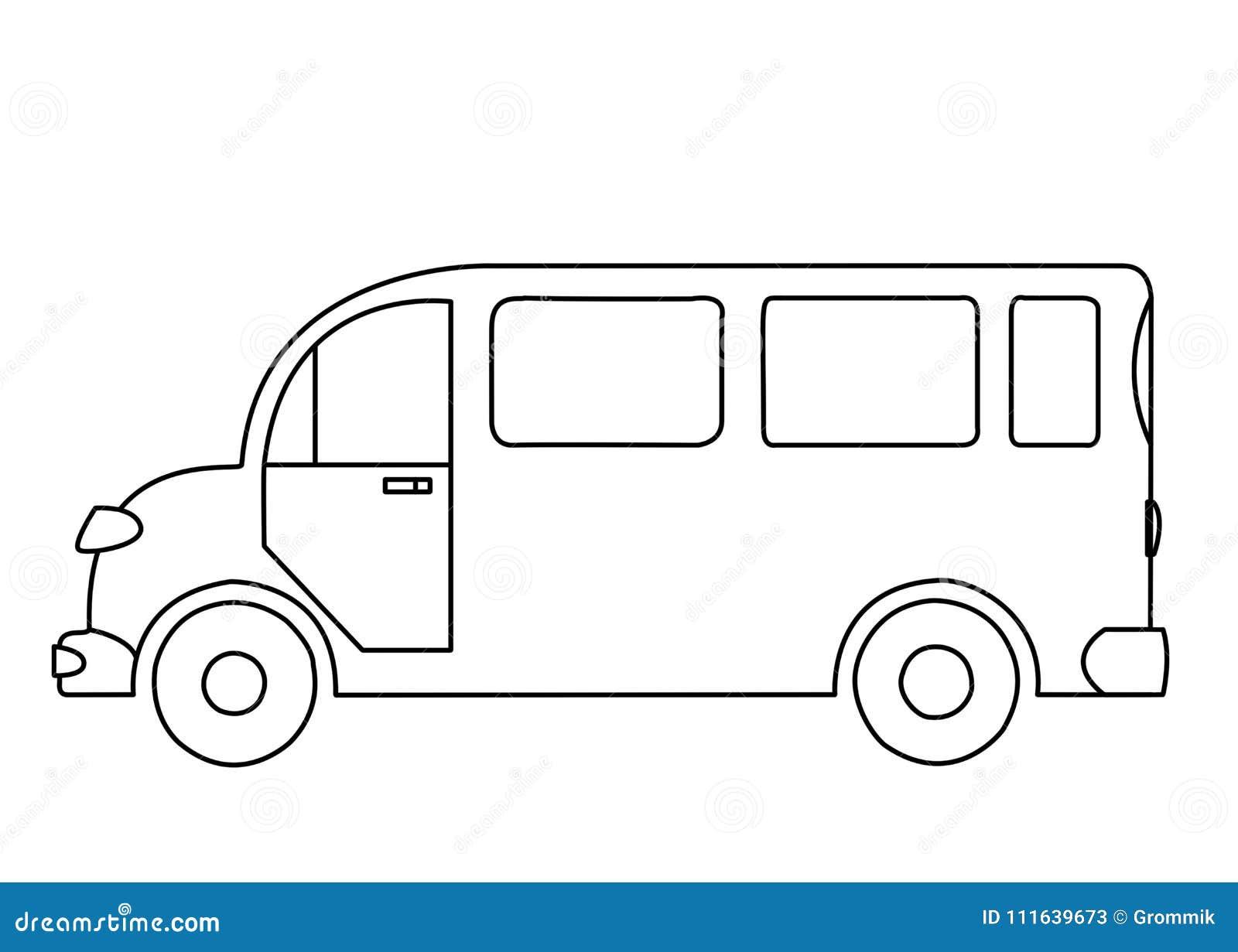 Dessin Densemble Dun Autobus De Passager Sur Le Fond Blanc
