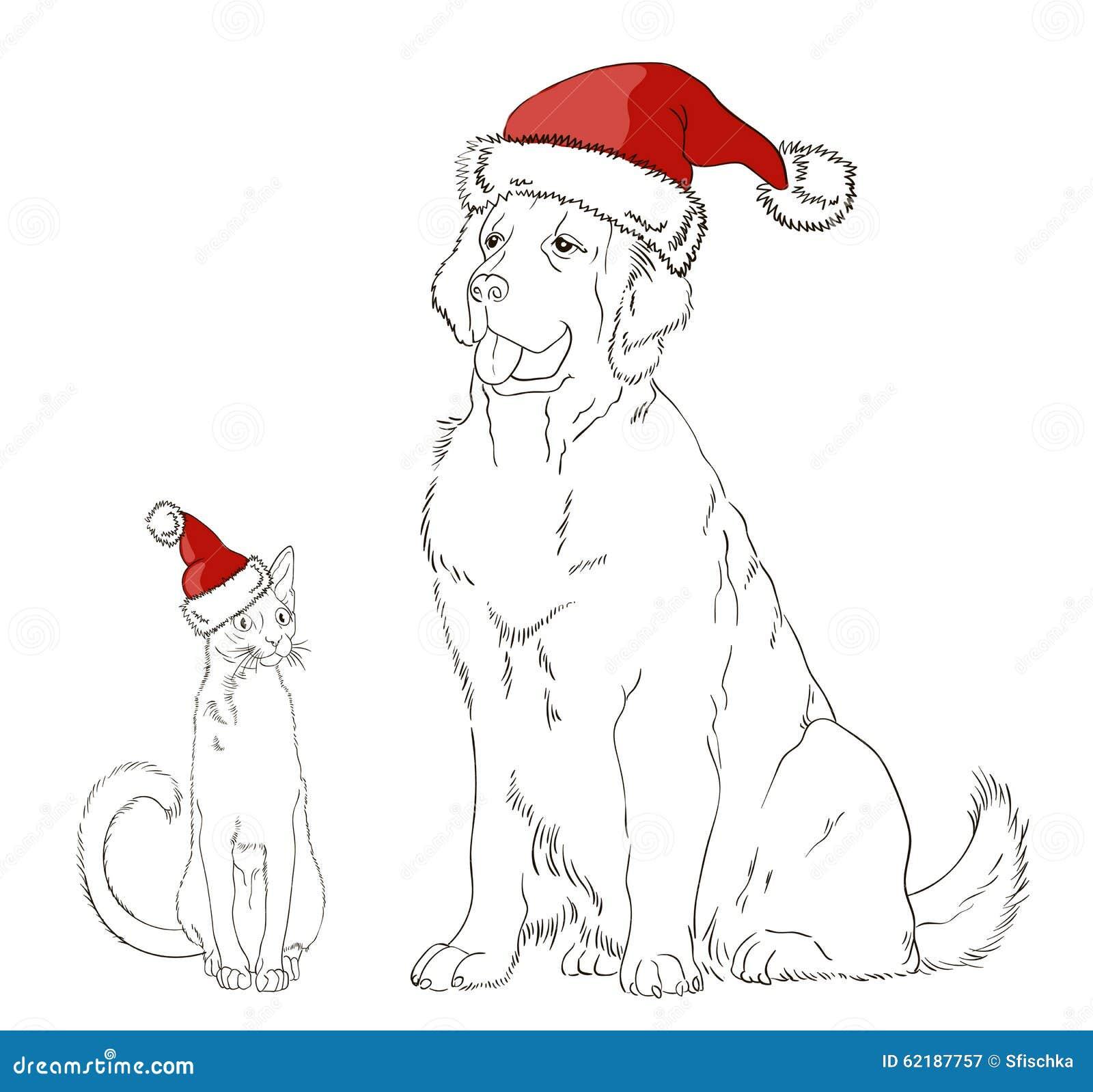 Dessin d 39 un chien et d 39 un chat dans des chapeaux de no l - Dessin d un chien ...