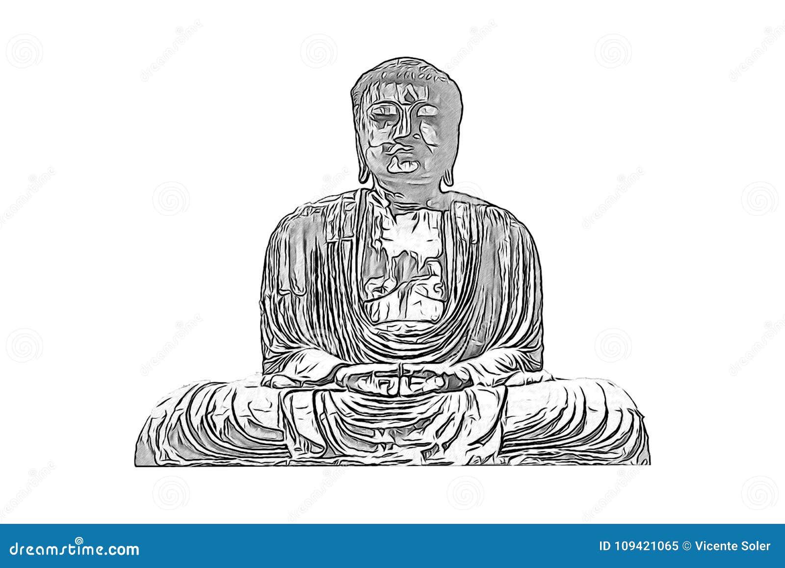 Dessin D Un Chiffre Bouddhiste En Noir Et Blanc Image Stock