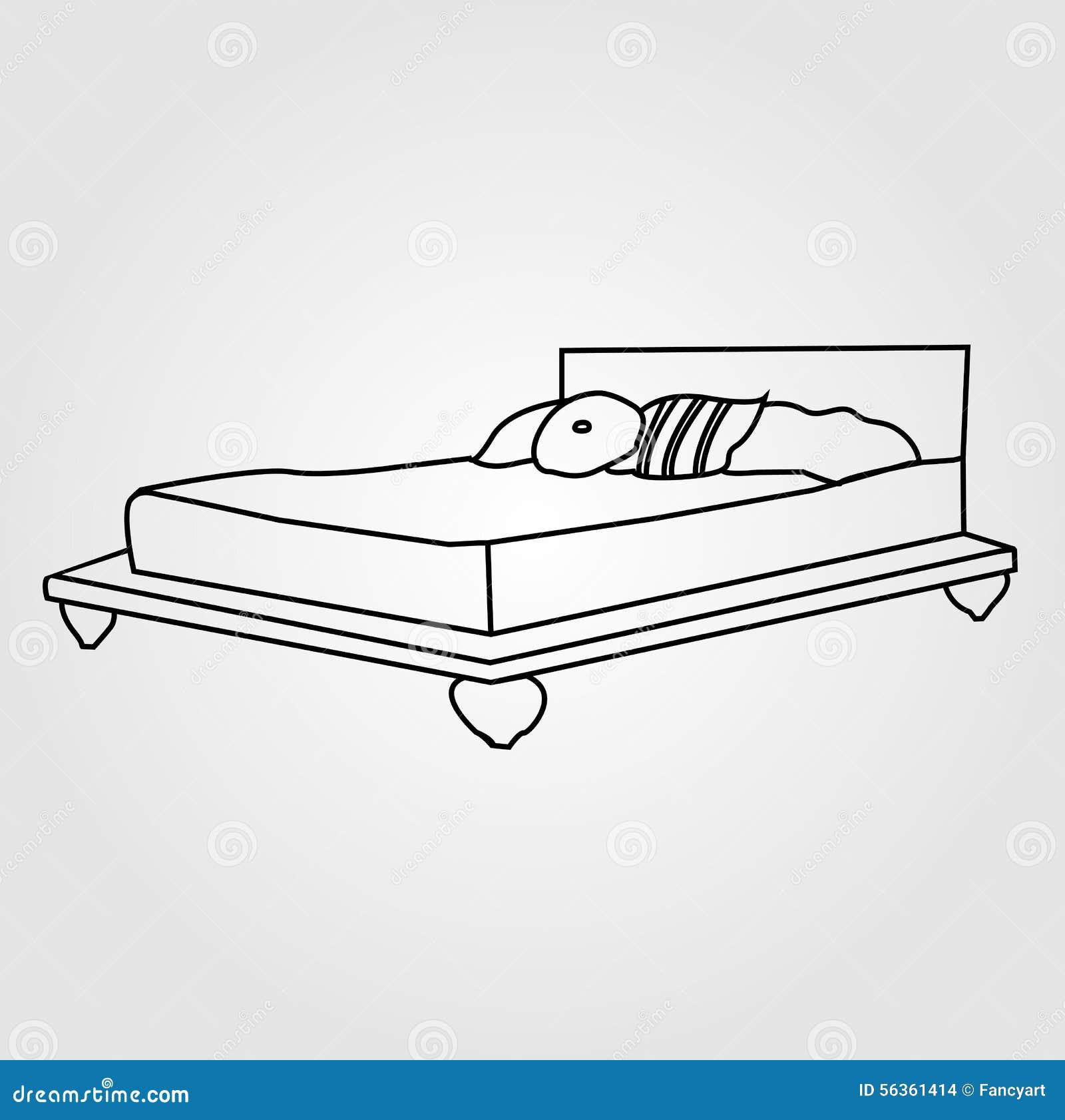 dessin d 39 un lit pour deux illustration de vecteur illustration du couverture 56361414. Black Bedroom Furniture Sets. Home Design Ideas