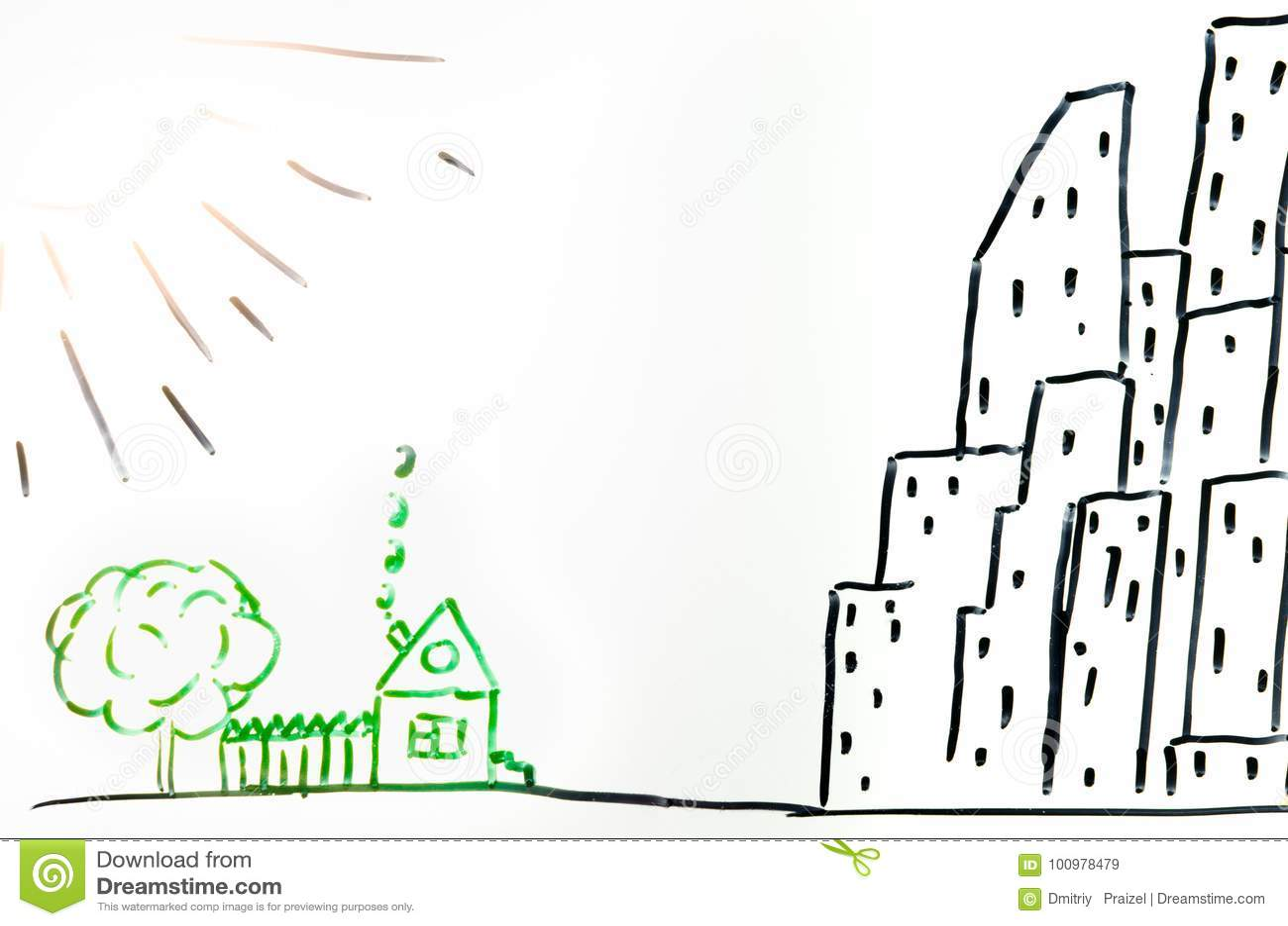 Dessin dune maison dans le village et la ville illustration stock