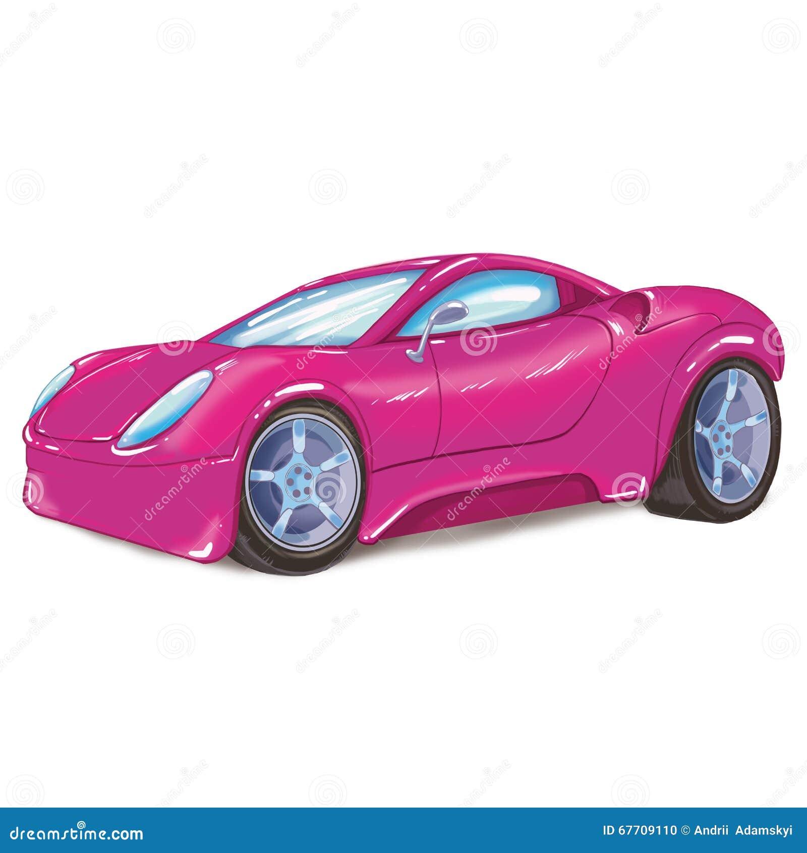 Dessin d 39 une voiture de sport moderne rose sur le fond - Dessin de voiture de luxe ...