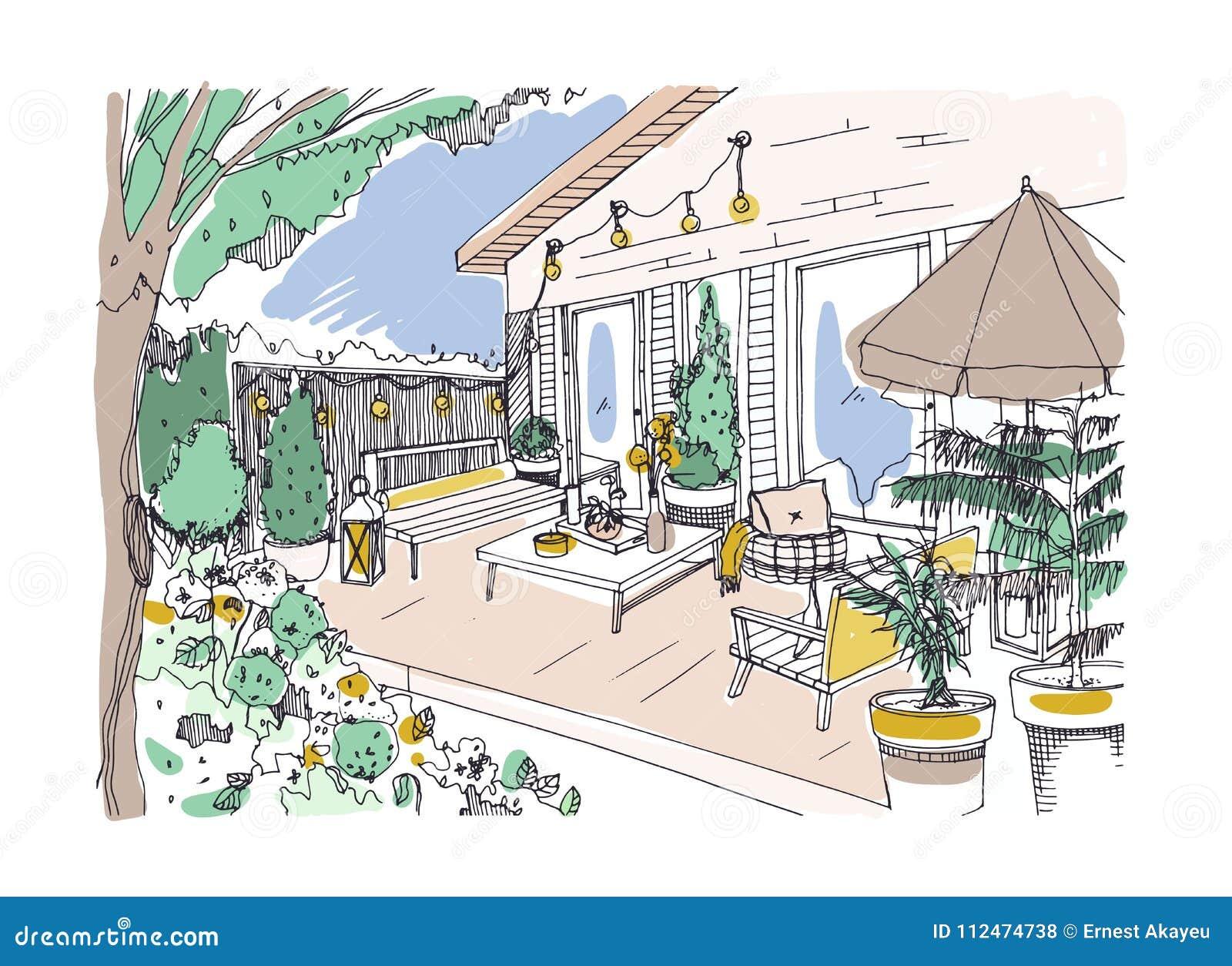 Dessin Avec La Main dessin de dessin à main levée du patio ou de la terrasse d